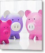 Studio Shot Of Piggy Banks Metal Print by Vstock LLC