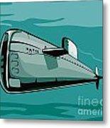 Submarine Boat Retro Metal Print by Aloysius Patrimonio