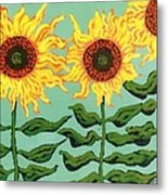 Three Sunflowers Metal Print by Genevieve Esson