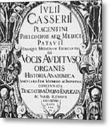 Title Page, Giulio Casserios Anatomy Metal Print by Science Source