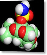 Topiramate Molecule, Anti-epilepsy Drug Metal Print by Dr Tim Evans