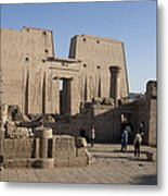 Tourists Walk Towards The Temple Metal Print by Taylor S. Kennedy