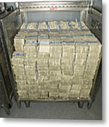 Us Dollar Bills In A Bank Cart Metal Print by Adam Crowley