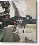 U.s. Marine Firing A Pk 7.62mm Machine Metal Print by Terry Moore