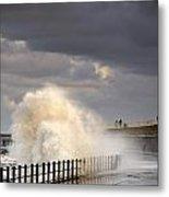 Waves Crashing, Sunderland, Tyne And Metal Print by John Short