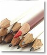 White And Red Pencils Metal Print by Blink Images