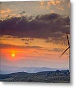 Wind Turbines At Sunset Metal Print by Andre Goncalves