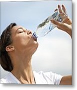 Woman Drinking Bottled Water Metal Print by