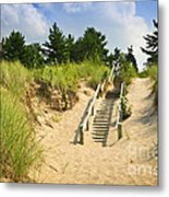 Wooden Stairs Over Dunes At Beach Metal Print by Elena Elisseeva