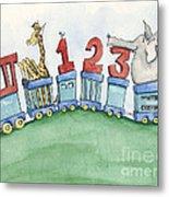 123 Animal Train Metal Print by Annie Laurie