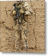 A German Army Soldier Armed With A M4 Metal Print by Terry Moore