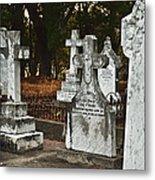 Gravestones In Graveyard Metal Print by Dave & Les Jacobs