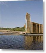 Lakeside Building And Dock Metal Print by Jaak Nilson