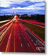 Night Traffic Metal Print by Elena Elisseeva
