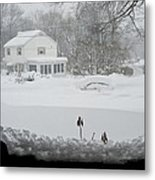 Snow Covers The Streets Metal Print by Stacy Gold