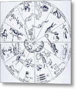 Star Map From Kirchers Oedipus Metal Print by Science Source
