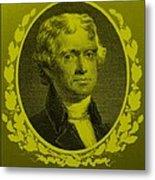 Thomas Jefferson In Yellow Metal Print by Rob Hans