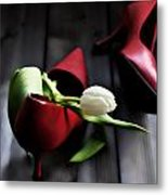 White And Red Metal Print by Joana Kruse