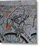Bike 2 On Map Metal Print by William Cauthern