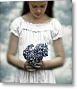 Girl With Hydrangea Metal Print by Joana Kruse