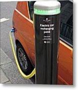 Recharging An Electric Car Metal Print by Martin Bond