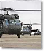 Uh-60 Black Hawks Taxis Metal Print by Terry Moore