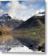 Mountains And Lake, Lake District Metal Print by John Short