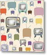 retro TV pattern  Metal Print by Setsiri Silapasuwanchai