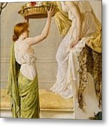 A Basket Of Roses - Grecian Girls Metal Print by Henry Thomas Schaefer