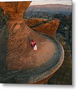 A Bedouin Surveys The View Metal Print by Annie Griffiths
