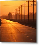 A Country Highway Fades Into The Sunset Metal Print by Joel Sartore