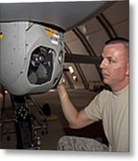 A Crew Chief Works On Mq-1 Predators Metal Print by HIGH-G Productions