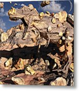 A Fossilized T. Rex Bursts To Life Metal Print by Mark Stevenson