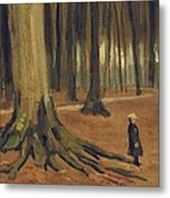 A Girl In A Wood Metal Print by Vincent van Gogh