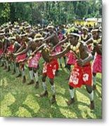 A Group Of New Guinean Men Performing Metal Print by Klaus Nigge