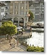 A Lucerne Street Scene In The City Metal Print by Annie Griffiths