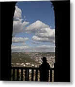 A Man Looks Out Of Ajloun Castle Metal Print by Taylor S. Kennedy