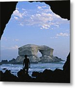 A Man Silhouetted Against La Portada Metal Print by Joel Sartore