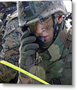 A Marine Communicates Over The Radio Metal Print by Stocktrek Images