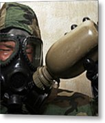 A Marine Drinks Water From A Canteen Metal Print by Stocktrek Images