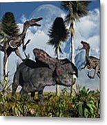 A Pair Of Velociraptors Attack A Lone Metal Print by Mark Stevenson
