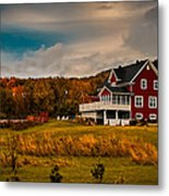 A Red Farmhouse In A Fallscape Metal Print by Chantal PhotoPix