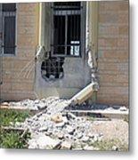 A Rocket Propelled Grenade Damaged This Metal Print by Stocktrek Images