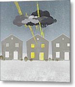 A Row Of Houses With A Storm Cloud Over One House Metal Print by Jutta Kuss