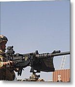 A Royal Marine Manning A .50 Caliber Metal Print by Andrew Chittock