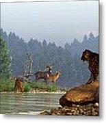 A Saber-tooth Hunting Deer Metal Print by Daniel Eskridge