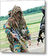 A Sniper Of The Belgian Army Together Metal Print by Luc De Jaeger