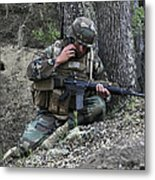 A Soldier Communicates His Position Metal Print by Stocktrek Images