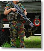 A Soldier Of An Infantry Unit Metal Print by Luc De Jaeger