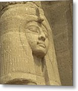 A Statue Of Nefertari At The Entrance Metal Print by Richard Nowitz